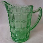 "Beaded Block Green Pint Jug 5.25"" Imperial Glass Company"