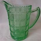 "Beaded Block Green Pint Jug 5.25"" Imperial Glass Company"
