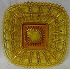 "Beaded Block Amber Plate Square 7.75"" Imperial Glass Company"