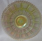 "Beaded Block Iridescent Plate 9"" Round Imperial Glass Company"