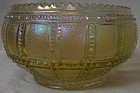 "Beaded Block Iridescent Round Cupped Bowl 5.5"" Imperial Glass Company"