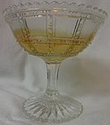 """Beaded Block Crystal Iridescent Stemmed Jelly 4.5"""" Imperial Glass"""