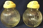 "Vertical Rib Salt & Pepper Shaker 4"" Cream Lid Hazel Atlas Glass"