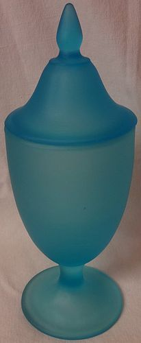 "Sky Blue Satin Candy 9.5"" Tiffin Glass Company"