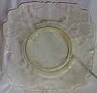 "Heisey Yellow Plate 10.75"" Lotus Etched"