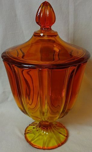 "Persimmon Candy and Lid 10.25"" Viking Glass Company"