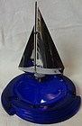 Sailboat Cobalt and Metal Ashtray