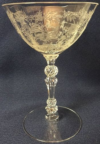"Chintz Crystal Champagne 5.5"" 6 oz Fostoria Glass Company"