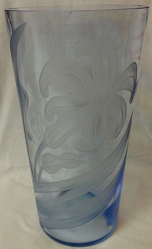 "Swedish Optic Copen Blue Vase 12"" Carved Magnolia Tiffin Glass Company"