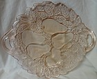 "Avocado Pink Handled Cake Plate 10.25"" Indiana Glass Company"