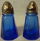 "Table Shaker 3"" Pair Ritz Blue Hazel Atlas Glass Company"