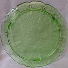 "Cherry Blossom Green Cake Plate 3 Legged 10.25"" Jeannette Glass"