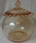 Old Colony Pink Cookie Jar and Lid Hocking Glass Company