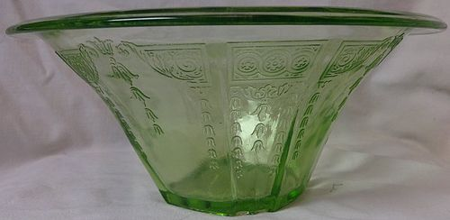 "Princess Green Bowl 9.5"" Hat Shaped Hocking Glass Company"