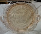 "Mayfair Pink Cake Plate Handled 12"" Hocking Glass Company"