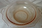 "Mayfair Pink Vegetable Bowl 10"" Handled Hocking Glass Company"
