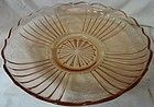 "Mayfair Pink Bowl Low Flat 11.75"" Hocking Glass Company"