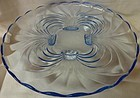 "Caprice Moonlight Blue Cabaret Plate 14"" 4 Foot #33 Cambridge Glass"