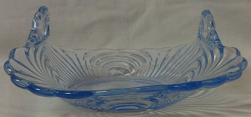 "Caprice Moonlight Blue Basket 2 Handled Square 5"" #153 Cambridge Glass"