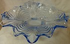 "Caprice Moonlight Blue Oval Bowl 13"" 4 Footed Crimped #66 Cambridge"