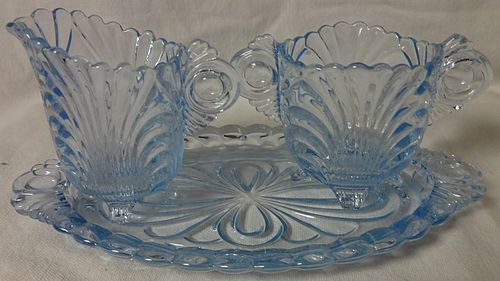 "Caprice Moonlight Blue Creamer 3"" and Sugar 2.5"" on Tray #3 Cambridge"