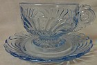 Caprice Moonlight Blue Cup and Saucer #17 Cambridge Glass Company