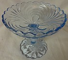 "Caprice Moonlight Blue Comport 7"" #136 Cambridge Glass Company"
