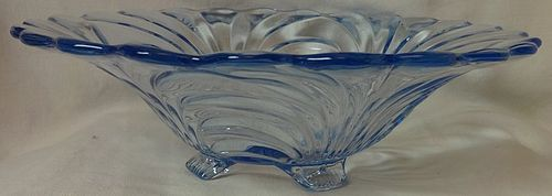 "Caprice Moonlight Blue Bowl 4 Footed Belled 12.5"" #62 Cambridge Glass"