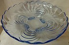 "Caprice Moonlight Blue Shallow Bowl 13"" 4 Footed #82 Cambridge Glass"