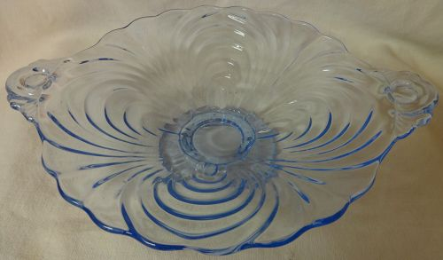 Caprice Moonlight Blue Low Footed Plate Cambridge Glass Company
