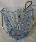 "Caprice Moonlight Blue Ice Bucket & Tongs 6"" #201 Cambridge Glass"