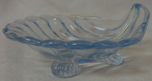"Sea Shell Moonlight Blue Ashtray 3 Footed 2.75"" #34 Cambridge Glass"