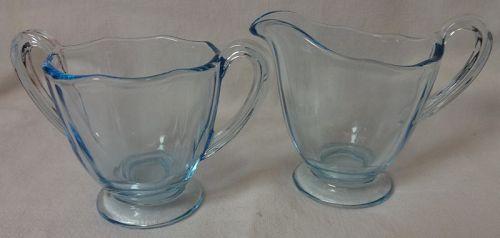 "Fairfax Azure Creamer & Sugar 2.5"" Fostoria Glass Company"