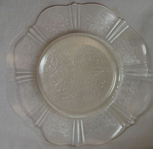 "American Sweetheart Pink Bread & Butter Plate 6"" Mac Beth Evans Glass"