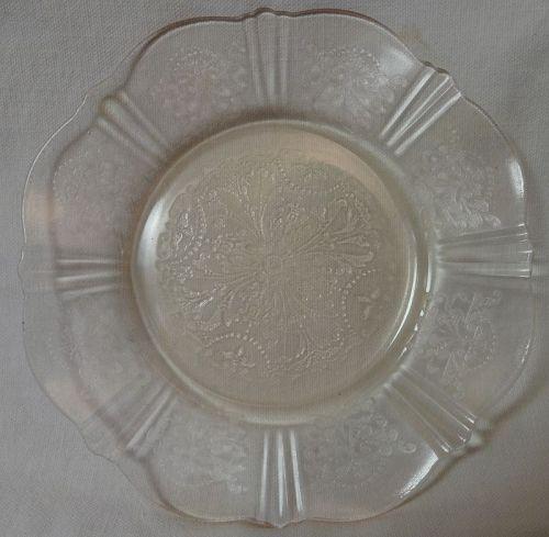 "American Sweetheart Pink Bread & Butter Plate 6"" Mac Beth Evans Glass"