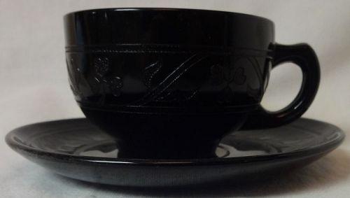 Cloverleaf Black Cup & Saucer Hazel Atlas Glass Company