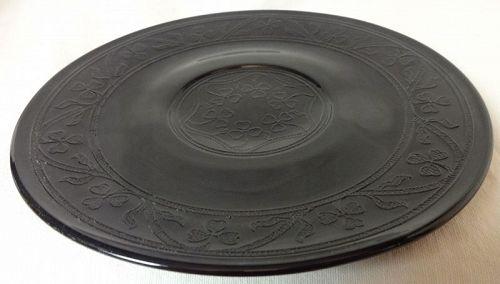 "Cloverleaf Black Lunch Plate 8"" Hazel Atlas Glass Company"