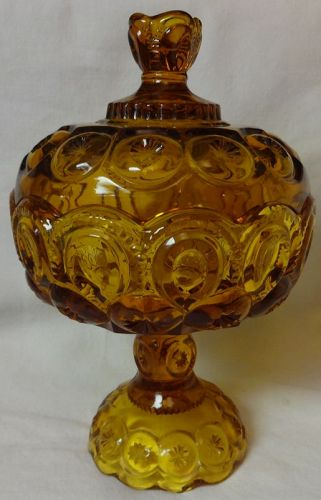 "Moon & Star Amber Covered Comport 10"" Tall 6.25"" Across L E Smith"