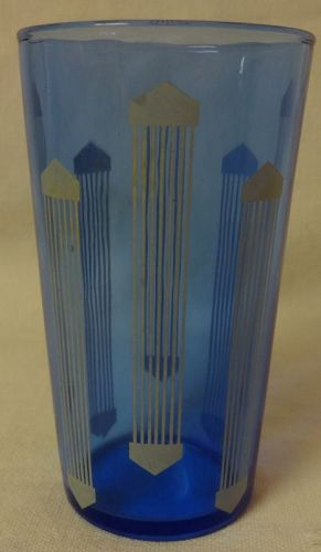 "Art Deco Juice Tumbler 3.75"" Ritz Blue Hazel Atlas Glass Company"
