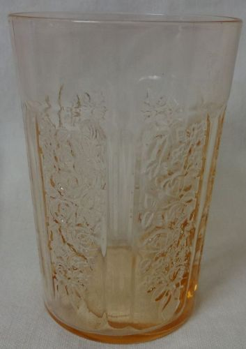 "Sharon Pink Water Tumbler Thin 4 1/8"" 9 oz Federal Glass Company"