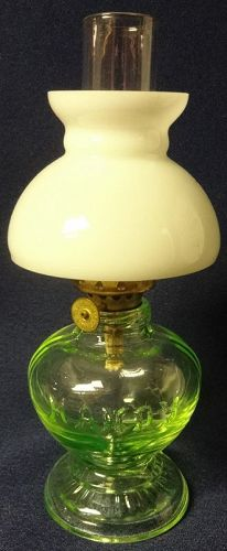 Handy Miniature Oil Lamp with White Shade and Chimney 7 3/8""