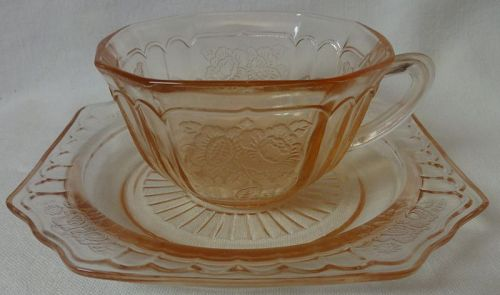 "Mayfair Pink Cup with 5.75"" Plate Hocking Glass Company"
