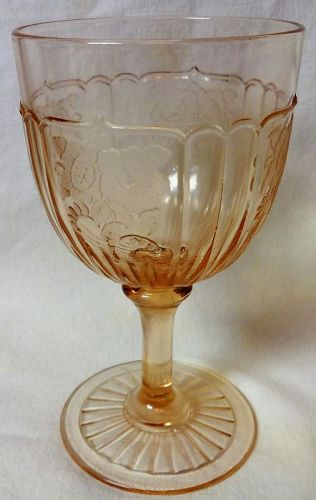 "Mayfair Pink Water Goblet 5.75"" 9 oz Hocking Glass Company"