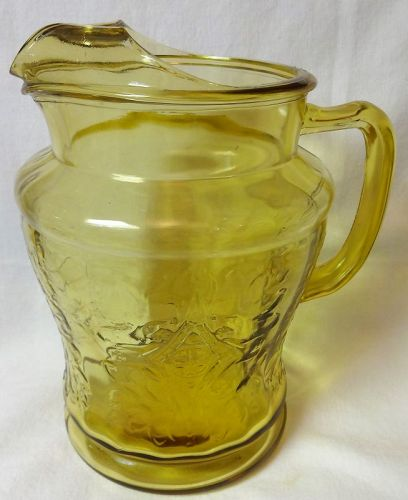"Madrid Amber Pitcher Ice Lip 8.5"" 80 oz Federal Glass Company"