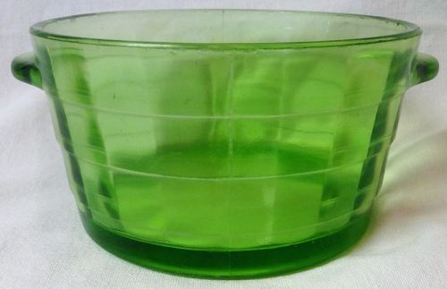 "Block Optic Green Ice Tub 5.5"" Hocking Glass Company"
