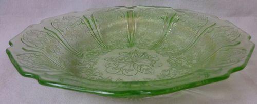 "Cherry Blossom Green Flat Soup Bowl 7.75"" Jeannette Glass Company"