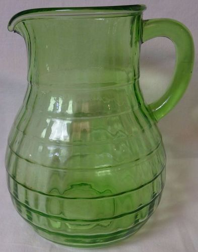 "Block Optic Green Balbous Pitcher 7 5/8"" 54 oz Hocking Glass Company"