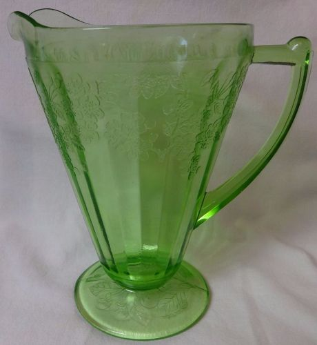 "Cherry Blossom Green PAT Pitcher Footed 7.75"" 36 oz Jeannette Glass"