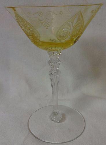 "Trojan Topaz High Sherbet 6"" 6 oz Line 5099 Fostoria Glass Company"