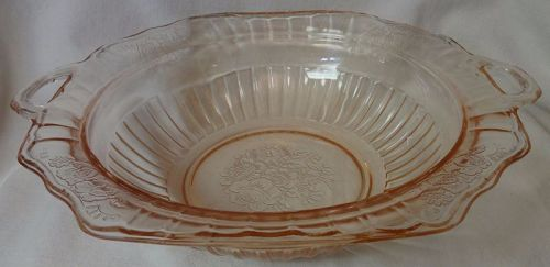 "Mayfair Pink 10"" Handled Bowl Hocking Glass Company"